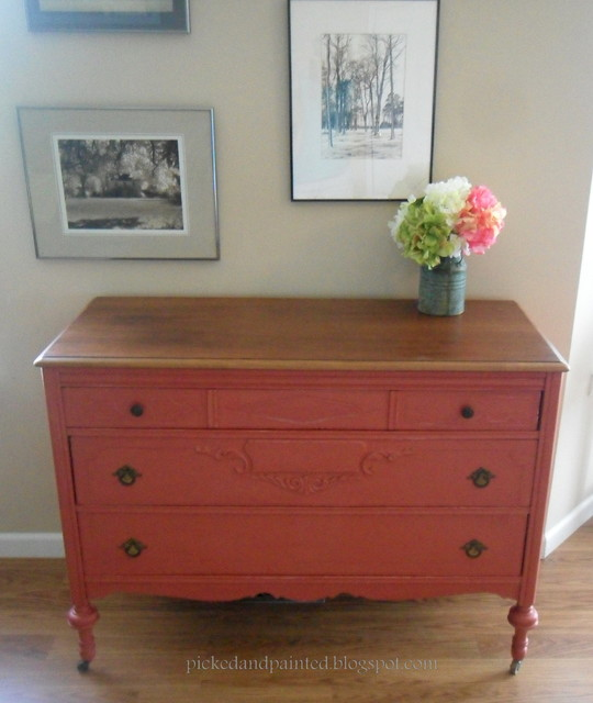 Red Dresser Before and After - by Picked & Painted