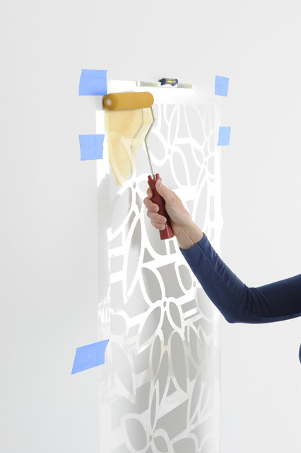 How to stencil, easy step-by-step roller stenciling technique contemporary