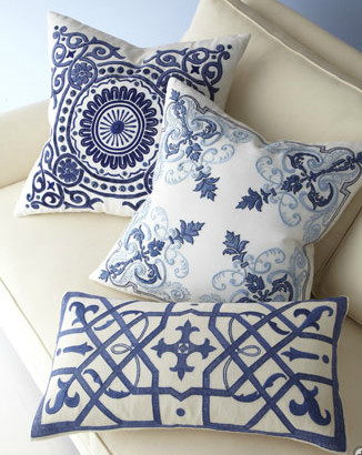 Blue-and-White Pillow Collection contemporary-pillows