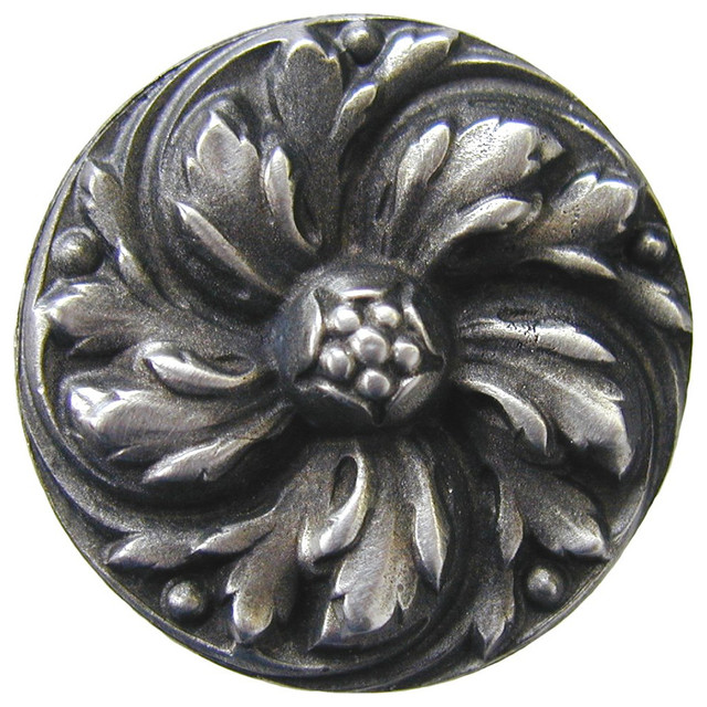 Notting Hill Chrysanthemum Knob - Antique Pewter modern-cabinet-and-drawer-knobs