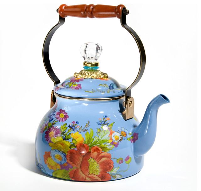 Flower Market Enamel 2 Quart Tea Kettle Blue Mackenzie