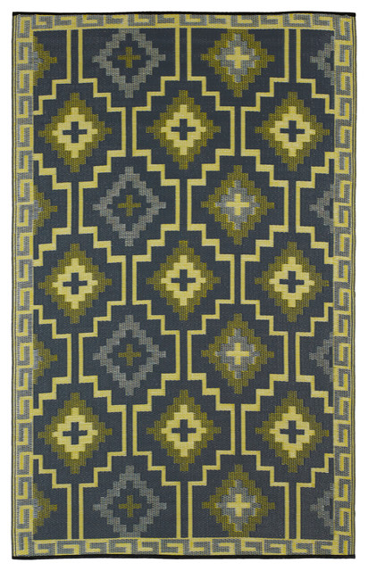 Indoor Outdoor Lhasa Rug Empire Yellow & Gray 3x5