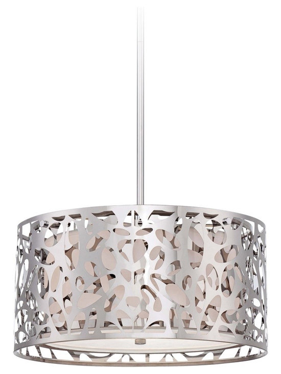 "George Kovacs - George Kovacs Hilary 15 3/4"" Wide Pendant Chandelier - This chrome pendant chandelier is a great addition for homes with modern decor inspiration. Perfect for entryways dining rooms and bedrooms this graceful fixture has an intricate openwork swirl design with a white interior shade for dimensional shine. A sleek chrome finish and frosted white glass diffuser complete this stunning look. From George Kovacs. Chrome finish pendant light. Openwork frame. Frosted white glass diffuser. White fabric shade interior. Takes two maximum 100 watt or equivalent bulbs(not included). Adjustable hang height of 16"" to 52"". 15 3/4"" wide. 8"" high.  Chrome finish pendant light.  Openwork frame.  Frosted white glass diffuser.  A George Kovacs lighting design.  White fabric shade interior.  Takes two maximum 100 watt or equivalent bulbs(not included).  Adjustable hang height of 16"" to 52"".  15 3/4"" wide.  8"" high."