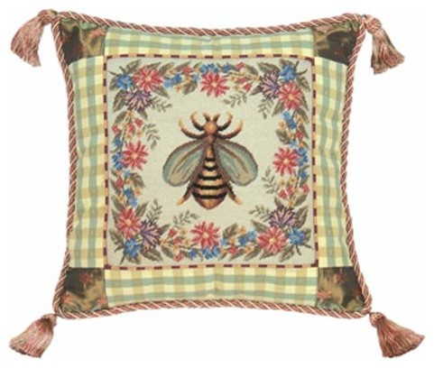 Modern Country Pillows : French Country Bumble Bee Petit-Point 16 x 16 Pillow - Modern - Decorative Pillows - by Bellacor