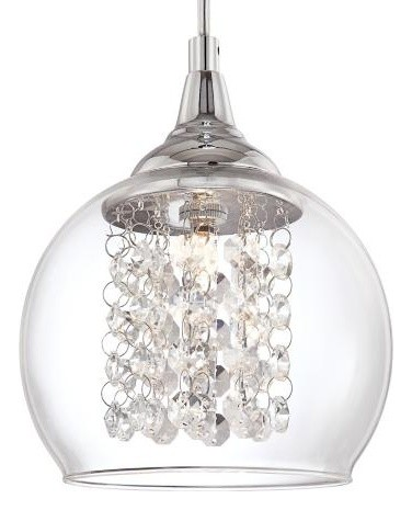 Encircled Crystal 6 Wide Halogen Mini Pendant modern pendant lighting