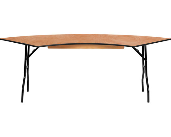 Flash Furniture - 7.25 Ft. x 2.5 Ft. Serpentine Wood Folding Banquet Table - This semi-circular wood folding table allows you to create a serpentine/ half circle or full circle table. The serpentine table allows you to create beautiful arrangements for weddings/ banquets and other events. Create a serpentine table by placing two tables in alternate directions. Create a half circle or full circle by placing two or four tables together from end-to-end. When no longer needed quickly fold the legs underneath tabletop and store away until the next event.