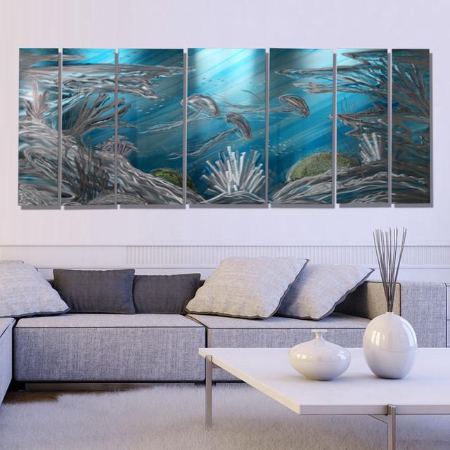 Original Abstract Aquatic Metal Wall Art