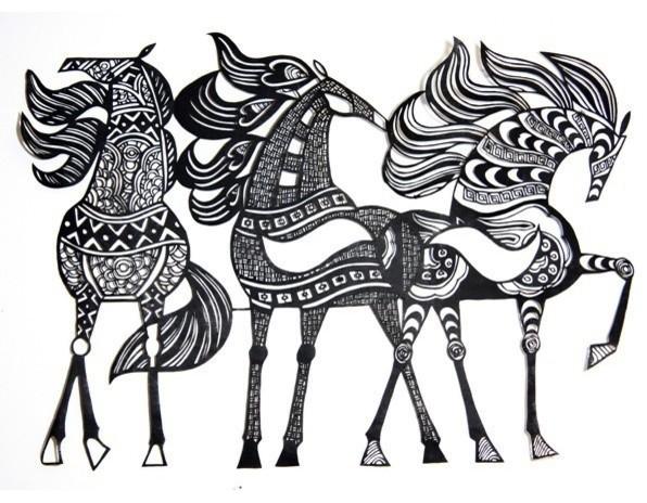Hand Cut Paper Horses eclectic-artwork