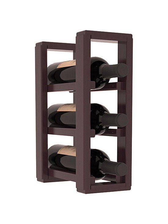 Wine Racks America® - 3 Bottle Counter Top/Pantry Wine Rack in Redwood, Burgundy Stain + Satin Finish - These counter top wine racks are ideal for any pantry or kitchen setting.  These wine racks are also great for maximizing odd-sized/unused storage space.  They are available in furniture grade Ponderosa Pine, or Premium Redwood along with optional 6 stains and satin finish.  With 1-10 columns available, these racks will accommodate most any space!!