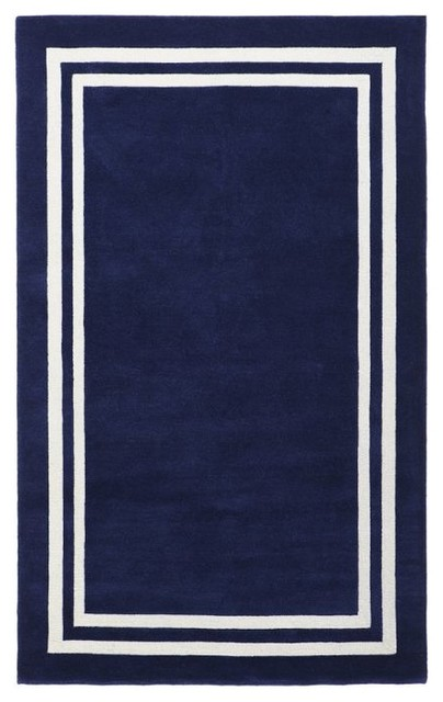 Decorator Border Rug Royal Navy Rugs Other Metro By