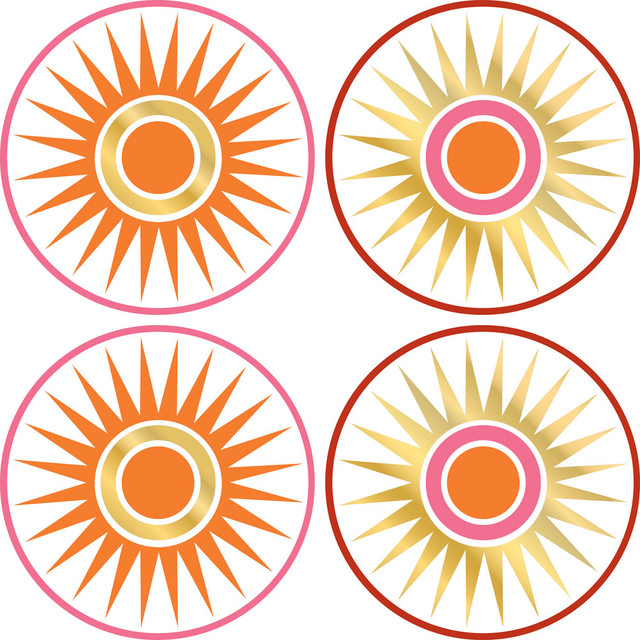 Gold Circles Wall Decor : Geo circles dots gold sun wall accent stickers