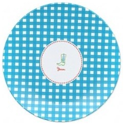 Fontaine Maury Plaid Blue Boot Dinner Plate Gifts eclectic-dinner-plates