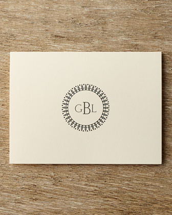 Carlson Craft 25 Circle Monogram Folded Notes with Personalized Envelopes traditional-desk-accessories