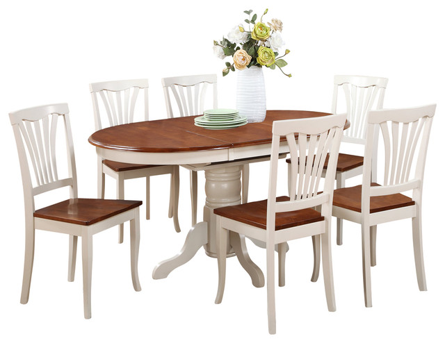 7 Pc Dining Set Oval Dining Room Table With Leaf And Dining Chairs Tradition