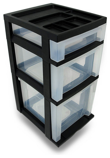 Iris 3 Drawer Plastic File Cart with Organizer Top traditional-office-carts-and-stands