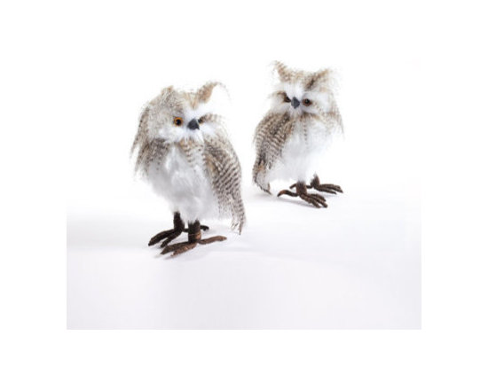 Grandin Road - Set of Two Small Longeared Owls - Set of two wide-eyed owls. Detailed with downy ear tufts, mottled feathers, and realistic metal claws. Crafted on a foam base. Each set includes one right-facing and one left-facing owl. Make our Long-eared Owls the hoot of your holiday decor. Adorn the boughs of your tree, or make these wise birds the stars of a woodland mantel scene. Downy ear tufts and mottled feathers frame their wide eyes, solid-foam bodies, and realistic claws, to make each pair a dynamic duo of wintertime wonder. . . . .