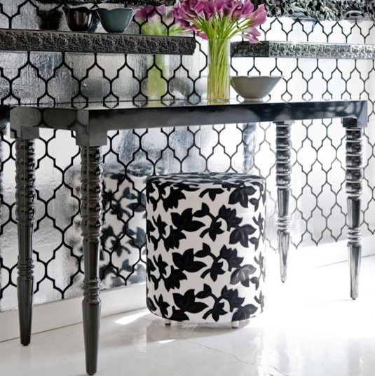 Turned Leg Console, High Gloss Black contemporary side tables and accent tables