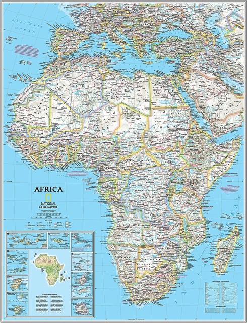 Classic Africa Map Wall Mural  -- Self-Adhesive Wallpaper in Various Sizes by Ma contemporary-wallpaper