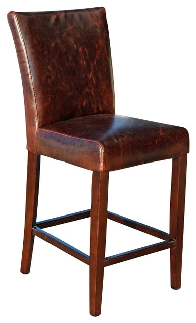 Counter Height Leather Bar Stools : height Counter Stool in Distress Brown Leather transitional-bar-stools ...