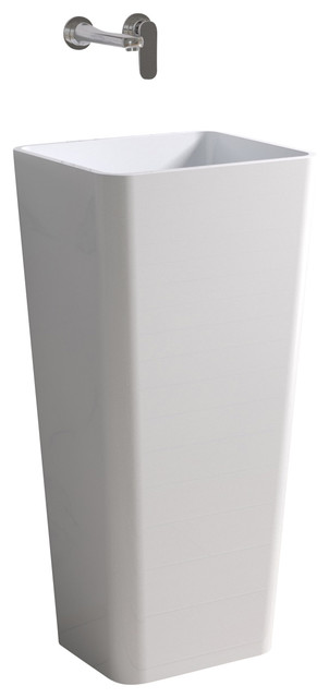 ADM White Solid Surface Stone Resin Pedestal Sink, White, Glossy contemporary-bathroom-sinks