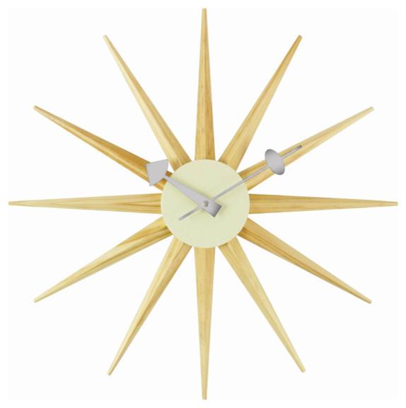 Sunburst Clock, Oak modern-wall-clocks
