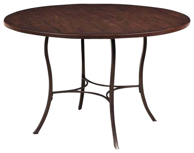 Hillsdale cameron dining table with metal base and wood for Traditional dining table bases
