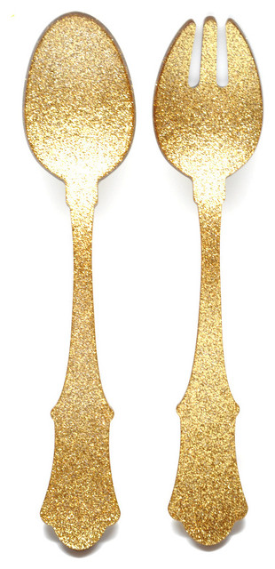 Glitter Salad Serving Set, Gold - Eclectic - Serving Utensils - by LEIF