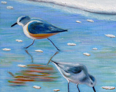 Sandpipers at the beach tropical artwork