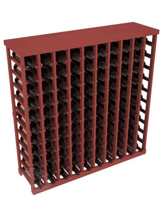 Wine Racks America® - Commercial Wine Rack RetailEDGE™ Standard Base with Solid Top, Cherry Stain - The Standard Base with the solid top option holds up to 110 bottles. These racks are made to secure and safely store each bottle while providing adequate breathing room. With this solid Ponderosa pine top option, 13 beautiful stain & finish combination choices, these racks will be sure to shine in your wine retail setting. The solid top increases storage space for holding more bottles, cases, or sale advertisements. Additional tops are also available and can be interchanged with ease. Increase your bottom line today with RetailEDGE Series ™.
