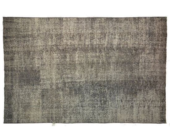 Grey Overdyed Rug - Rich color with hints of underlying pattern revive well-loved vintage Turkish carpets into a truly fabulous area rug.