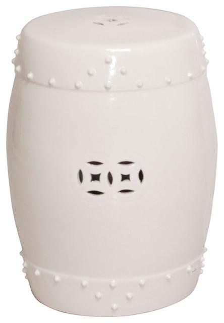 Bright White Ceramic Pierced Medallion Garden Seat Stool asian-accent-and-garden-stools