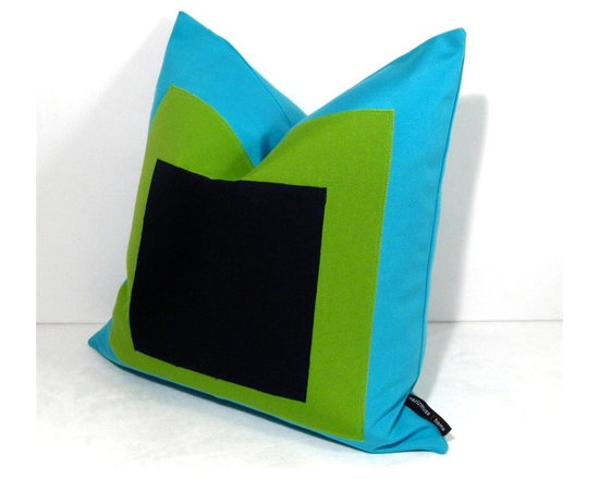 """Albers Turq Grn Outdoor Decor Cushion - Inspired by Bauhaus art and Joseph Albers most famous works, """"Homage to the Square"""", this modern and artful accent adds a ton of punch to the garden patio, beach house or any stylish space, indoors or out! Crafted in turquoise, lime green and navy Sunbrella outdoor canvas. Reverse in Turquoise with a weather hardy zippered closure."""