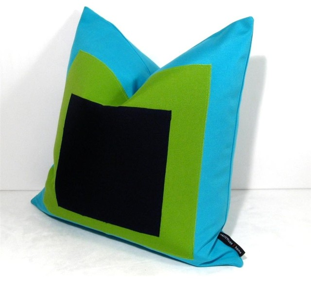 Albers Turq Grn Outdoor Decor Cushion modern-outdoor-pillows