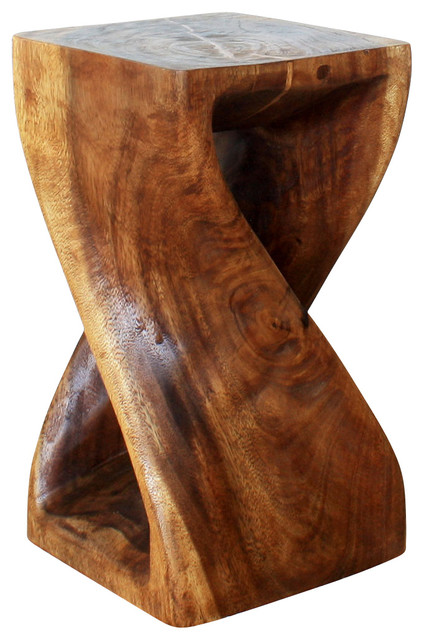 Twist Stool 10x10x18 Inch Hgt Sust Monkey Pod Wood W Eco