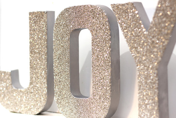 Joy german glass glitter letters holiday decorations for Lighted letters joy