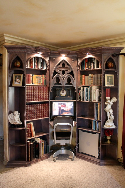 Multiple styles of furniture mediterranean-bookcases