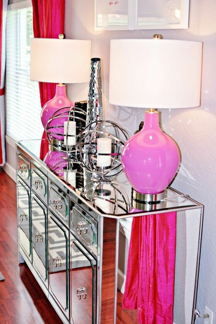 Pink Living and Dining Room contemporary