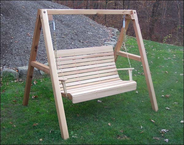 Red Cedar Royal Highback Porch Swing w/Stand - Contemporary ...