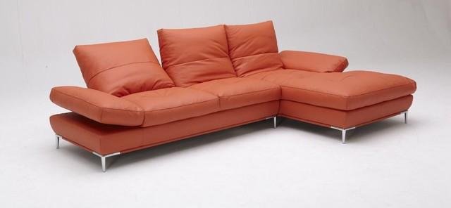 Stylish Orange Leather Sectional Sofa Set Modern Other