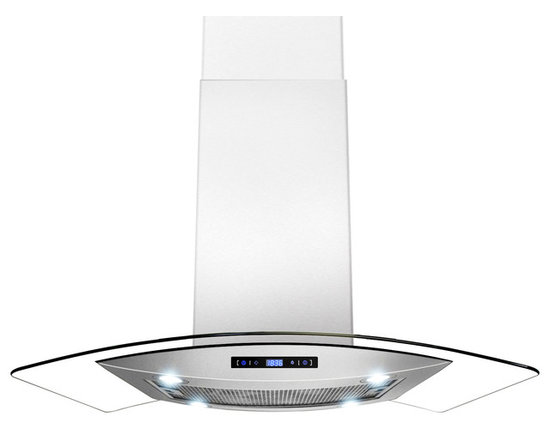 "AKDY - AKDY AK-Z688I/CS14 Euro Stainless Steel Island Mount Range Hood, 36"" - AKDY's 688iCS14 island range hoods are designed in Spain with quality construction and stunning style. This 36"" wide range hood with a 870 CFM blower. Constructed entirely from stainless steel, it features an adjustable chimney and aluminum grease filters with a wide filtration area. The 3-speed fan is operated with an intuitive digital controls. Four 2W LED light bulbs are pre-installed, offering an elegant illumination of your cooktop or range. The 688iCS14 is designed for ducted use, but may be converted to a ductless (recirculating) range hood when you order an optional charcoal filter set."