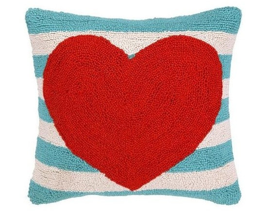 PHI - PHI Red Heart Aqua Striped Pillow - Square pillow by PHI