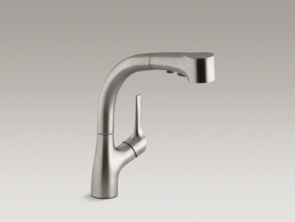 KOHLER Elate(TM) kitchen sink faucet with pullout spray spout and lever handle - Contemporary ...