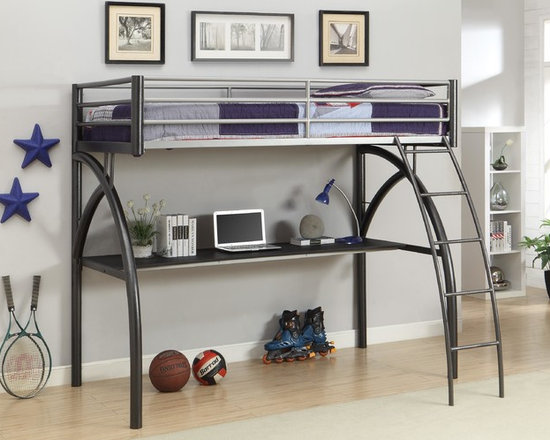 Black and Silver Grey Twin Workstation Bed - This loft bed includes a desk with a lot of space. It allows to study in the comfort of his or your own bedroom! The bed has built-in side ladder for convenient access and full length guard rails for safety.