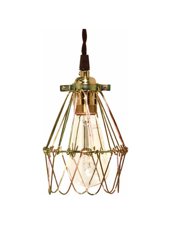 Barn Light Electric - Minimalist Polished Brass Cage Pendant - Once used in factories and warehouses, wire cages were often attached to protect the light bulb. The simplified elegance of the Minimalist Polished Brass Cage Pendant represents a truly creative lighting design reminiscent of the industrial era.