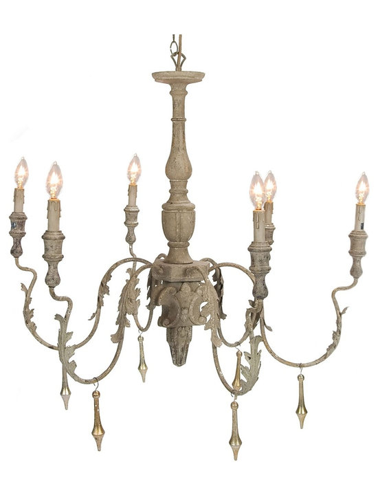 "Aidan Gray Charlemange Chandelier - This rustic hand painted chandelier is great in an entry hall or above a dining room table. To create the look you are going for you can choose either gold or grey dangles to add flare to your chandelier. Pictured above with the gold dangles. Also add to the detail of the piece with about 69"" of hand painted chain to secure your chandelier to the ceiling canopy that is sold with the piece. Does NOT come with Dangles-Crystal, Gold and Rustis Grey Dangles are available for purchase."