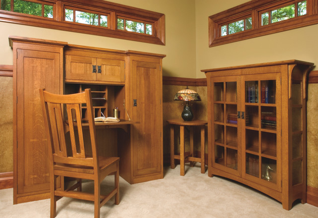 Mission style white oak office furniture craftsman for Craftsman style office