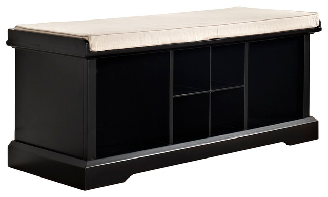 Brennan Entryway Storage Bench, Black traditional-upholstered-benches