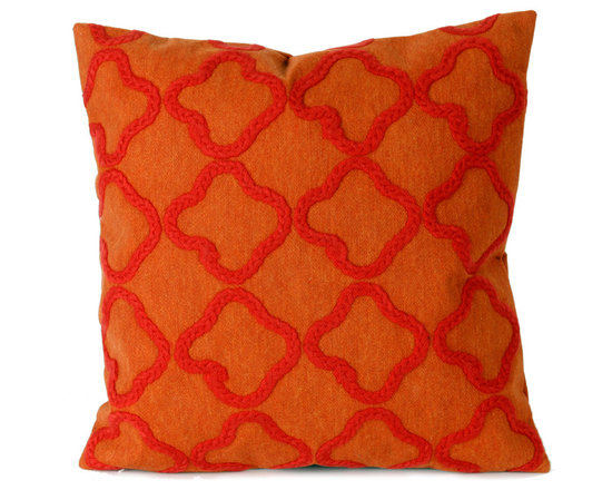 """Trans-Ocean Outdoor Pillows - Trans-Ocean Liora Manne Crochet Tile Orange - 20"""" x 20"""" - Designer Liora Manne's newest line of toss pillows are made using a unique, patented Lamontage process combining handmade artistry with high tech processing. The 100% polyester microfibers are intricately structured by hand and then mechanically interlocked by needle-punching to create non-woven textiles that resemble felt. The 100% polyester microfiber results in an extra-soft hand with unsurpassed durability."""