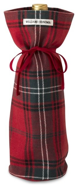 Red Tartan Plaid Wine Bottle Tote traditional barware