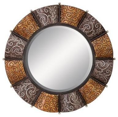 Decorative Round Metal Wall Mirror 32 Diam Modern